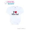 NEW BABY Body nyomott mintával New Baby I Love Mum and Dad | Piros | 86 (12-18 h)