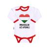 NEW BABY Body nyomtatott mintával New Baby Drukkolok az apuval | Piros | 86 (12-18 h)