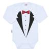 NEW BABY Body nyomtatott mintával New Baby szmoking   Fehér   86 (12-18 h)