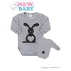 NEW BABY Csecsemő body hossú ujj New Baby Állat Nyuszi szürke | Szürke | 50