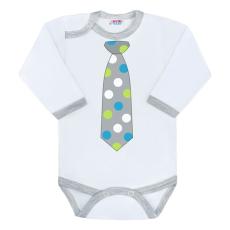 NEW BABY | New Baby Nyakkendő | Body nyomtatott mintával New Baby pöttyös nyakkendővel | Szürke | 56 (0-3 h)