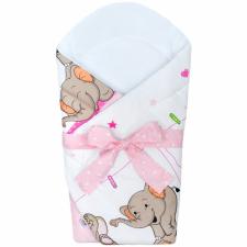 NEW BABY Pólya kókusz merevítéssel és masnival New Baby rózsaszín elefántos pólya