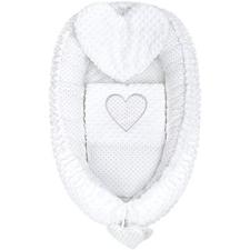 NEW BABY Szívecske Pompás babafészek párnával és takaróval - fehér babafészek