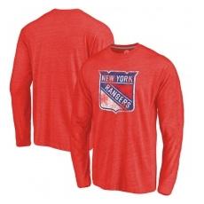 New York Rangers FĂŠrfi póló Primary Logo Tri-Blend Long Sleeve - XL