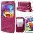 NEWSETS notesz / mappa tok - MAGENTA - oldalra nyíló ablakos flip cover, hívószámkijelzés, bankkártya tartó, szilikon belsõ, asztali tartó funkciós - SAMSUNG SM-G900F Galaxy S5 / SM-G901F Galaxy S5 LTE-A / SM-G901F Galaxy S5 Plus - GYÁRI
