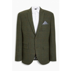 Next , Tailored fit gyapjú tartalmú blézer, Erdőzöld, 46R (193458-GREEN-46R)