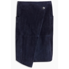 Next TBC NEXT Navy Wrap Front Suede Skirt 12 (758915-BLUE-12)