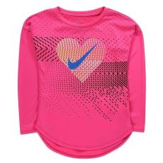 Nike kisgyermek hosszú ujjú felső - Nike Heart Geo LS T Shirt Infant Girls Pink
