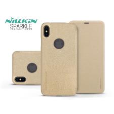 Nillkin Apple iPhone XS Max oldalra nyíló flipes tok - Nillkin Sparkle Logo - gold tok és táska