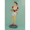 Női reklámfigura- 90 cm/pincérnő tálcával/piros ruhás