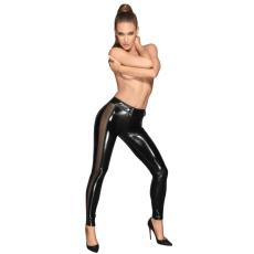 Noir - áttetsző betétes, fényes legging (fekete)