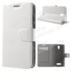 Notesz tok / flip tok - FEHÉR - asztali tartó funkciós, oldalra nyíló, rejtett mágneses záródás, bankkártya tartó, szilikon belsõ - Lenovo A2010