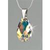 . Nyaklánc, Crystals from SWAROVSKI® kristályos cseppformájú medállal, fehér színjátszós 16mm