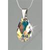 Nyaklánc, Crystals from SWAROVSKI® kristályos cseppformájú medállal, fehér színjátszós 16mm (RSWL007)