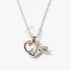 Nyíllal átlőtt szív medálos nyaklánc barack színű kővel jwr-1311