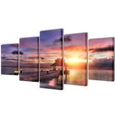 Nyomtatott vászon falikép szett tengerpart pavilonnal 200 x 100 cm tapéta, díszléc és más dekoráció