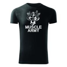 O&T fitness tričko muscle army team, čierna 180g/m2