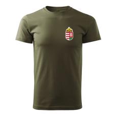 O&T trikó kicsi magyar címerrel, oliva 160g/m2