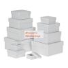 Papírdoboz készlet tetővel, négyzetes, fehér, 12 db-os
