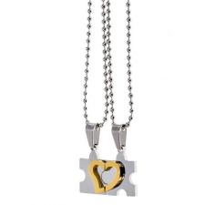 Páros puzzle nyaklánc szívvel nyaklánc