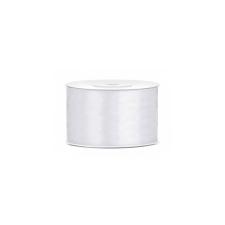 PartyDeco Szatén szalag - Fehér 50mm/25m kerti dekoráció