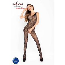 Passion BS020 - virágos-csigavonalas, nyitott necc overall (fekete) - S-L body