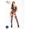 Passion Passion BS025 - oldalt hálós, hosszúujjú miniruha (fekete) - S-L