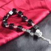 PATICO 925 Sterling ezüst fekete kockagyöngy karkötő