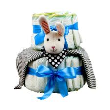 Pelenkatorta Webshop Babaváró ajándék ötlet: Pelenkatorta kisfiúnak nyuszival, két emeletes pelenka