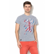 Pepe Jeans London , Channel regular fit grafikai mintás póló, Melange sötétkék, S (PM503150-597-S)