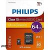 Philips fm64mp45b 64gb cl10 micro sd kártya + adapter