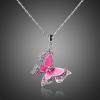 Pink színű pillangó nyaklánc ausztriai kristályokkal, platina bevonattal + AJÁNDÉK DÍSZDOBOZ (56.)