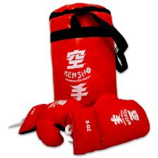 Piros boxzsák 8-as méretű kesztyűvel boksz és harcművészeti eszköz
