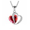 Piros köves apró szív medálos nyaklánc