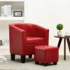 Piros műbőr fotel lábzsámollyal