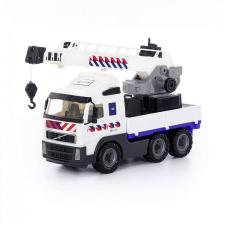 Polesie Volvo darus teherautó, fehér 49 cm autópálya és játékautó