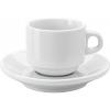 Porcelán csésze csészealjjal, fehér