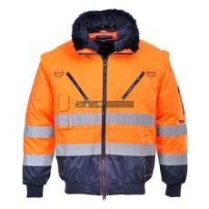 Portwest PJ50 Hi-Vis 3 az 1-ben Pilóta kabát (Narancs/Navy - L )
