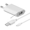 Powery Goobay USB hálózati adapter töltő + micro USB kábel 1m fehér 1A