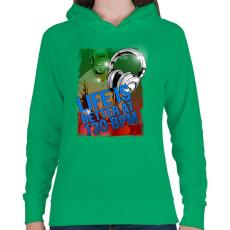 PRINTFASHION 130 BPM - Női kapucnis pulóver - Zöld