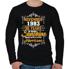 PRINTFASHION 1983 Születésnap - Napfény egy kis hurrikánnal! - Férfi hosszú ujjú póló - Fekete