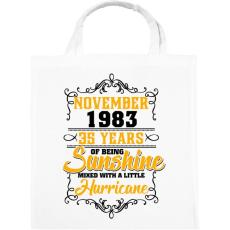 PRINTFASHION 1983 Születésnap - Napfény egy kis hurrikánnal! - Vászontáska - Fehér