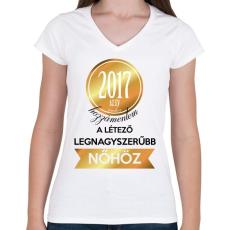 PRINTFASHION 2017 - Női V-nyakú póló - Fehér