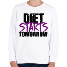 PRINTFASHION A diéta holnaptól kezdődik - Gyerek pulóver - Fehér