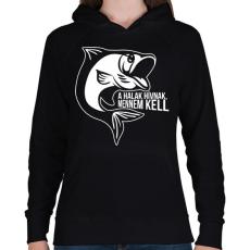 PRINTFASHION A halak hívnak - Női kapucnis pulóver - Fekete