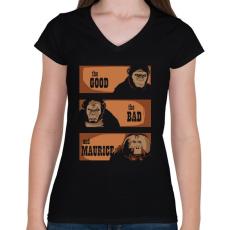 PRINTFASHION A jó, a rossz és Maurice - Női V-nyakú póló - Fekete