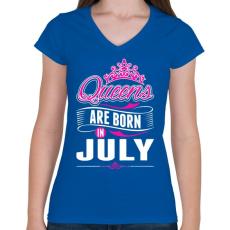 PRINTFASHION A királynők júliusban születnek - Női V-nyakú póló - Királykék