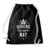 PRINTFASHION A királynők májusban születnek - Sportzsák, Tornazsák - Fekete