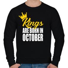 PRINTFASHION A királyok októberben születnek - Férfi pulóver - Fekete