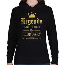PRINTFASHION A legendák Februárban születnek - Női kapucnis pulóver - Fekete